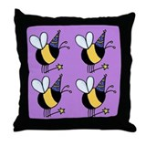Magic Bee Throw Pillow purple
