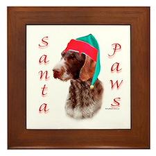 Santa Paws Wirehaired Pointer Framed Tile