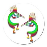 Two Kokopelli #88 Round Car Magnet