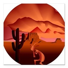 "Southwest Kokopelli Square Car Magnet 3"" x 3"""