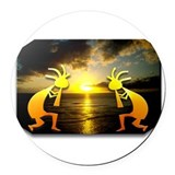 Two Kokopelli Sunset Round Car Magnet