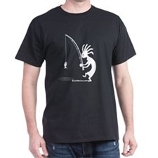 Kokopelli Fisherman Black T-Shirt