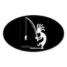 Kokopelli Fisherman Oval Decal