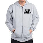 GONE STACHIN - Funny Mustache Zip Hoodie