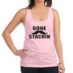 GONE STACHIN - Funny Mustache Racerback Tank Top