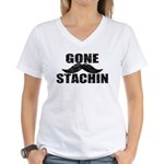GONE STACHIN - Funny Mustache Women's V-Neck T-Shi