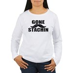 GONE STACHIN - Funny Mustache Women's Long Sleeve