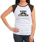 GONE STACHIN - Funny Mustache Women's Cap Sleeve T