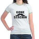 GONE STACHIN - Funny Mustache Jr. Ringer T-Shirt