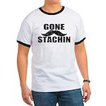GONE STACHIN - Funny Mustache Ringer T
