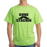 GONE STACHIN - Funny Mustache Green T-Shirt