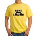 GONE STACHIN - Funny Mustache Yellow T-Shirt