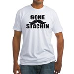 GONE STACHIN - Funny Mustache Fitted T-Shirt