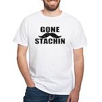 GONE STACHIN - Funny Mustache White T-Shirt