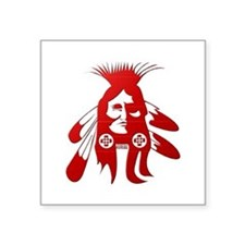"Native American Warrior #2 Square Sticker 3"" x 3"""