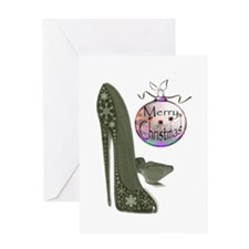Christmas Stiletto Shoe Art Greeting Card