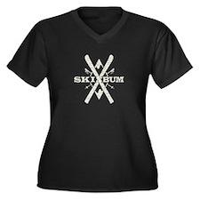 Ski Bum Women's Plus Size V-Neck Dark T-Shirt