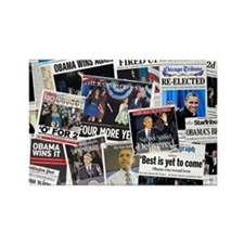 Obama Wins 2012 Newspaper Rectangle Magnet
