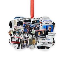 Obama Wins 2012 Newspaper Picture Ornament