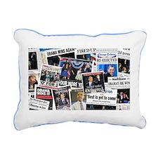 Obama Wins 2012 Newspaper Rectangular Canvas Pillo