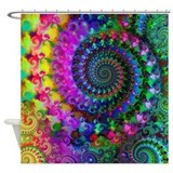Psychedelic Rainbow Fractal Pattern Shower Curtain