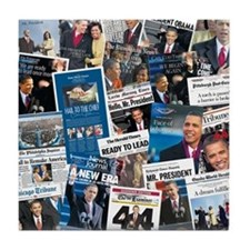 Historic Inauguration Headlines Tile Coaster