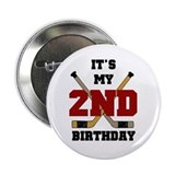 Hockey 2nd Birthday Button