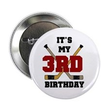 Hockey 3rd Birthday Button