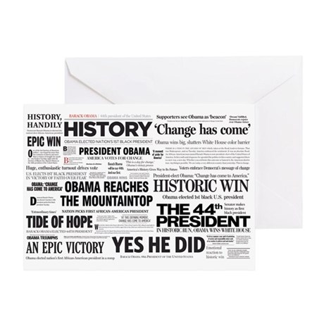 Obama Historic Headline Colla Greeting Card
