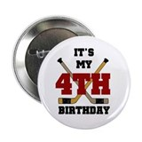 Hockey 4th Birthday Button