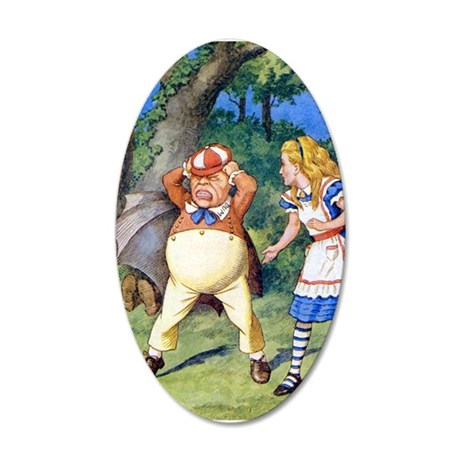 Alice and Tweedle Dum 20x12 Oval Wall Decal
