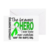 Bravest Hero I Knew Lymphoma Greeting Cards (Pk of