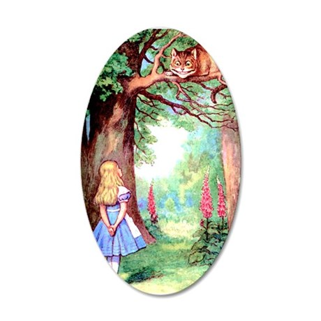 Alice and the Cheshire Cat 35x21 Oval Wall Decal