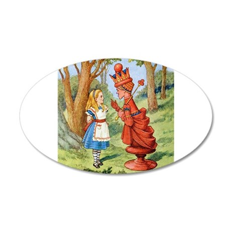 Alice Meets The Red Queen 35x21 Oval Wall Decal