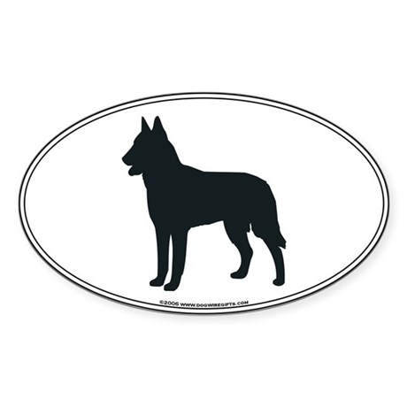 Belgian Malinois Silhouette Oval Sticker