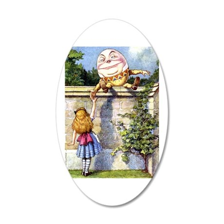 Alice and Humpty Dumpty 20x12 Oval Wall Decal