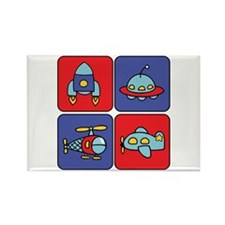 Flying Vehicle Squares Rectangle Magnet