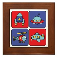 Flying Vehicle Squares Framed Tile