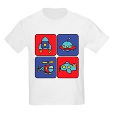 Flying Vehicle Squares Kids T-Shirt