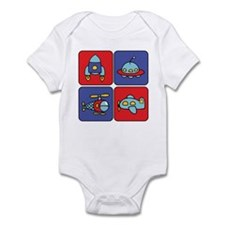 Flying Vehicle Squares Infant Creeper