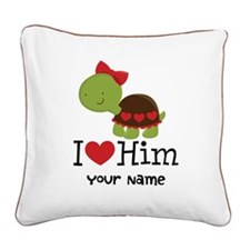 Personalized Valentine Turtle Square Canvas Pillow