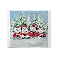 Christmas Westies II.png Throw Blanket