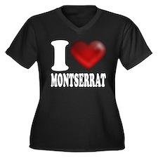 I Heart Montserrat Women's Plus Size V-Neck Dark T