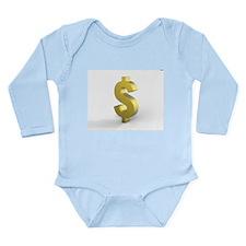 Gold Dollar SIgn Long Sleeve Infant Bodysuit