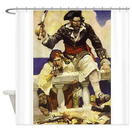 Gifts gt blackbeard bathroom d 233 cor gt blackbeard pirate shower curtain