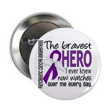 """Bravest Hero I Knew Pancreatic Cancer 2.25"""" Button"""