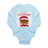 Black Girl 1st Christmas Long Sleeve Baby Bodysuit
