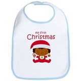 Black Girl First Christmas Bib