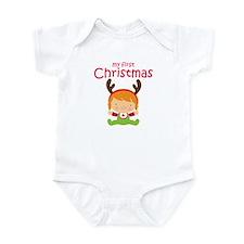 Reindeer Girl 1st Christmas Baby Bodysuit