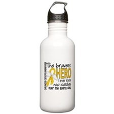 Bravest Hero I Knew Childhood Cancer Water Bottle